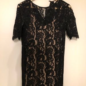 Dresses & Skirts - Black lace dress with nude slip